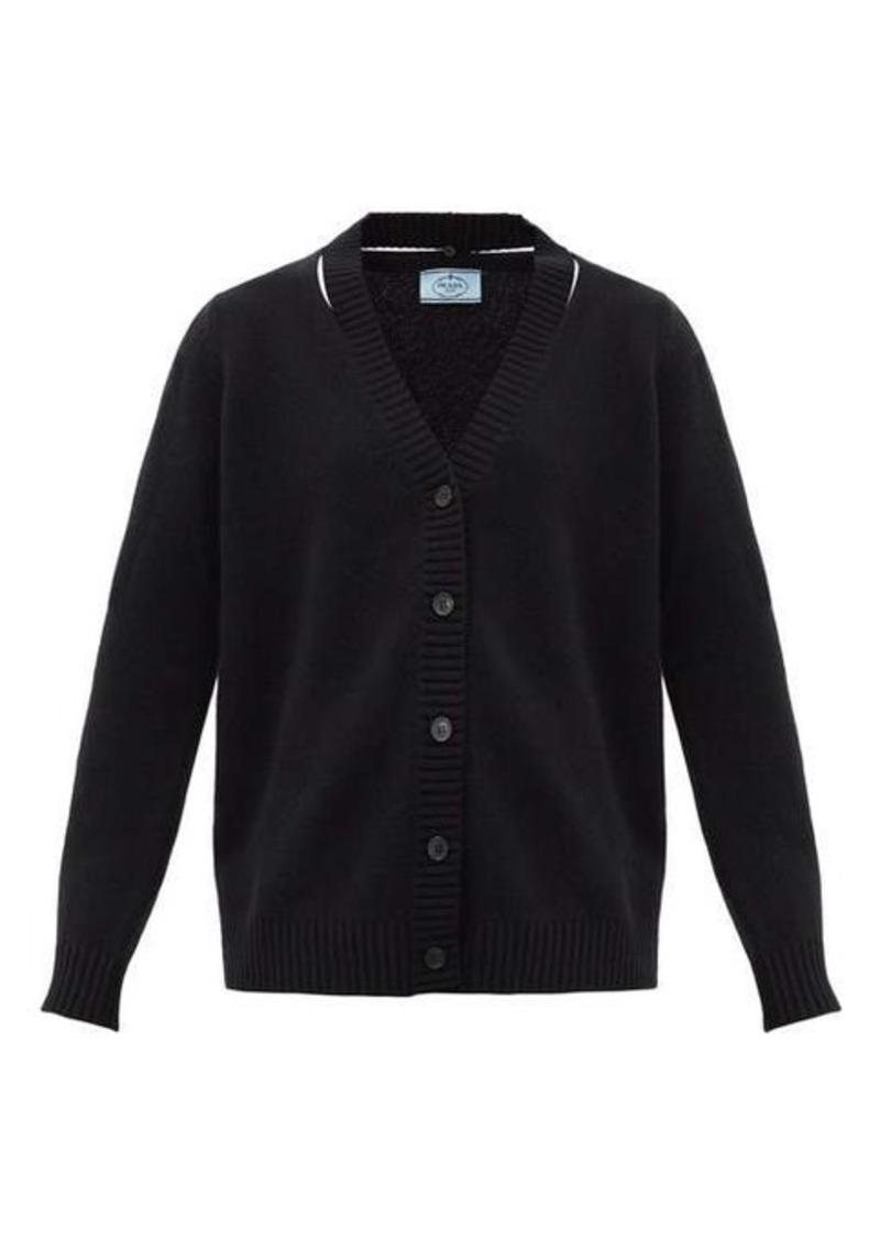 Prada Oversized slit-neck wool-blend cardigan