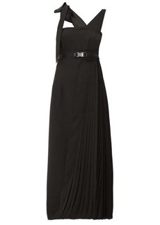 Prada Panelled pleated technical-twill midi dress