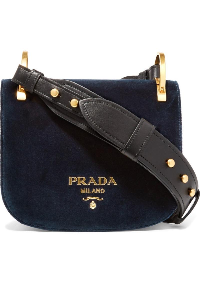 4505b77c73a9 Prada Pionnière Leather-trimmed Velvet Shoulder Bag