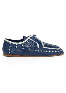 Prada Piped and woven leather boating shoes