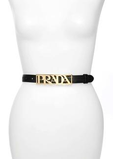 Prada Plaque Logo Saffiano Leather Belt