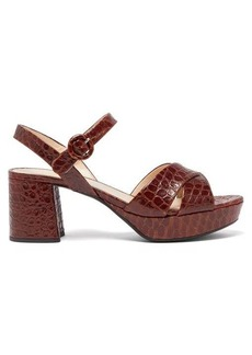 Prada Platform crocodile-effect leather sandals