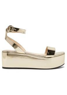 Prada Platform metallic leather sandals