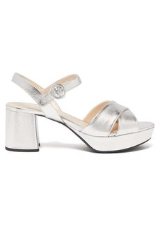 Prada Platform metallic leather sandals