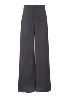 Prada Pleated Checked Wide-Leg Pants