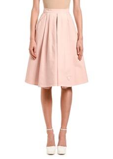 Prada Pleated Denim Midi Skirt