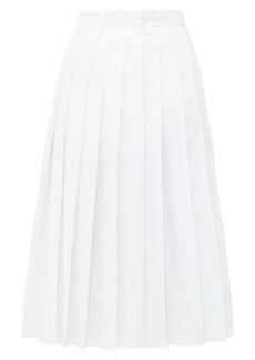 Prada Pleated high-rise cotton-poplin midi skirt