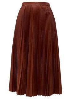 Prada Pleated leather midi skirt