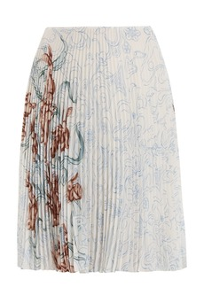 Prada Pleated rabbit-print skirt