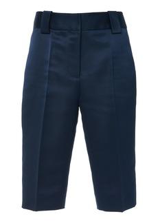Prada Pleated Silk-Satin Bermuda Shorts