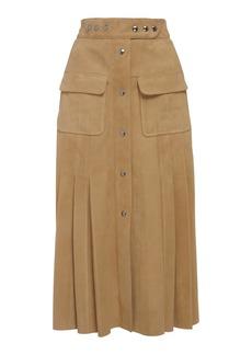 Prada Pleated Suede Midi Skirt