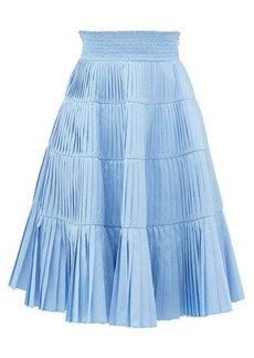 Prada Pleated tiered cotton-poplin midi skirt