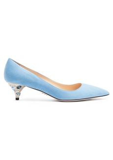 Prada Point-toe crystal-embellished suede pumps