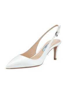 Prada Point-Toe Patent Saffiano Slingback Pumps