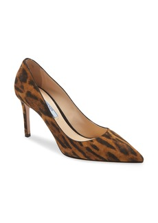 Prada Pointed Toe Leopard Print Pump (Women)