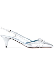 Prada pointed toe slingback pumps - Metallic