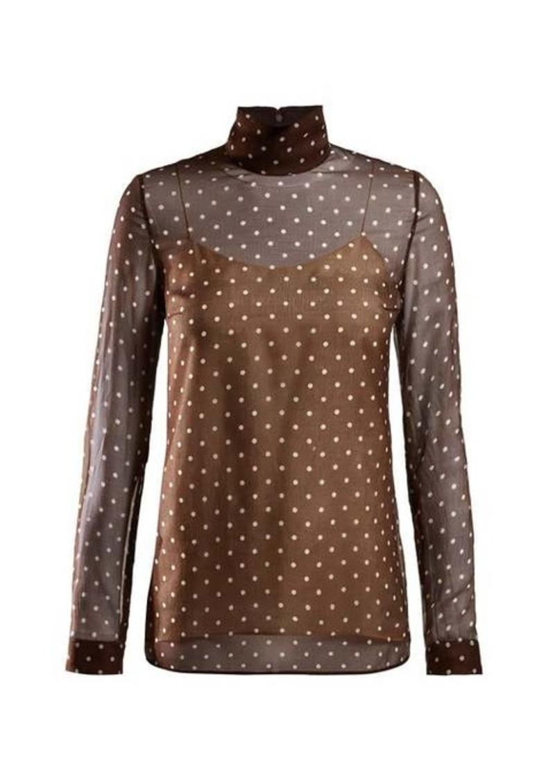 Prada Polka-dot chiffon blouse