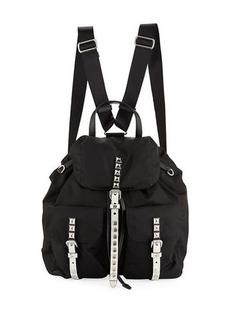 Prada Prada Black Nylon Backpack with Studding