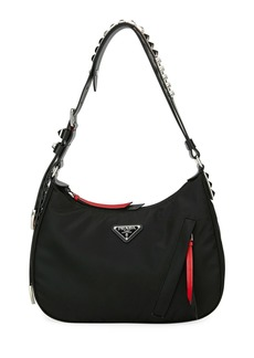 Prada Prada Black Nylon Shoulder Bag w/ Studding