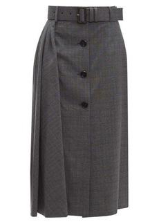 Prada Prince of Wales-checked wool-blend midi skirt