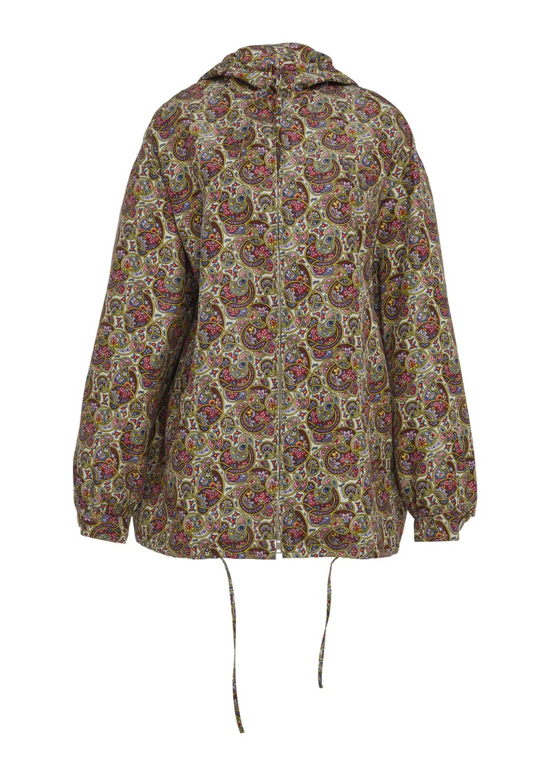 Prada Printed Hooded Silk Jacket