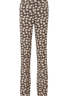 Prada Printed Silk Crepe De Chine Flared Pants