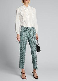 Prada Printed Wool Cropped Pants