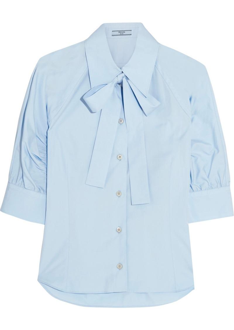 69dcaacbe7db8a Prada Prada Pussy-bow cotton-poplin shirt