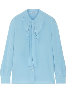 Prada Pussy-bow ruffled silk crepe de chine blouse