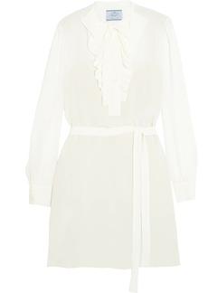 Prada Pussy-bow Ruffled Silk Crepe De Chine Mini Dress