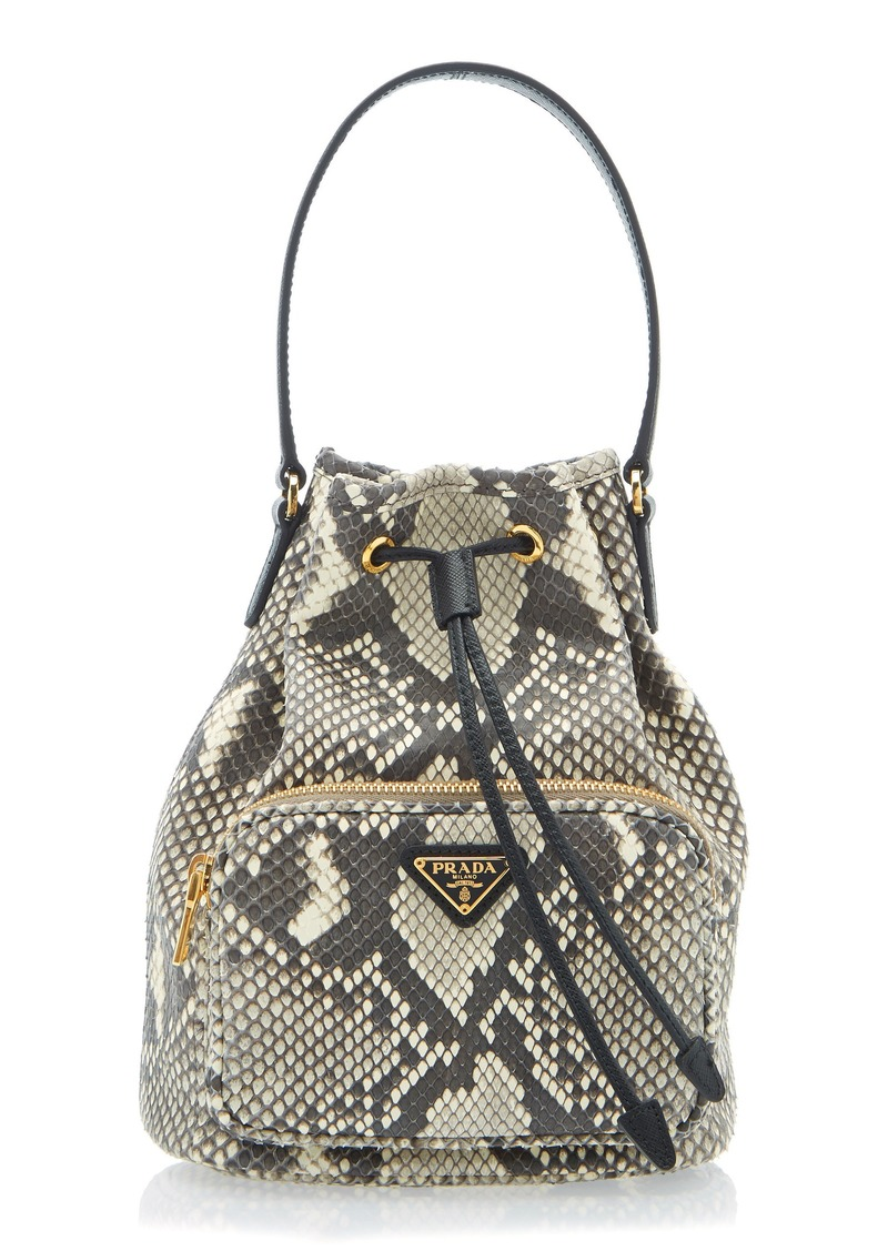 c67e9384f5a1 Prada Prada Python Print Leather Bucket Bag | Handbags