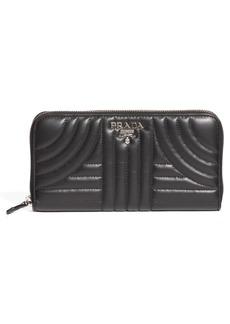 Prada Quilted Leather Zip Around Continental Wallet