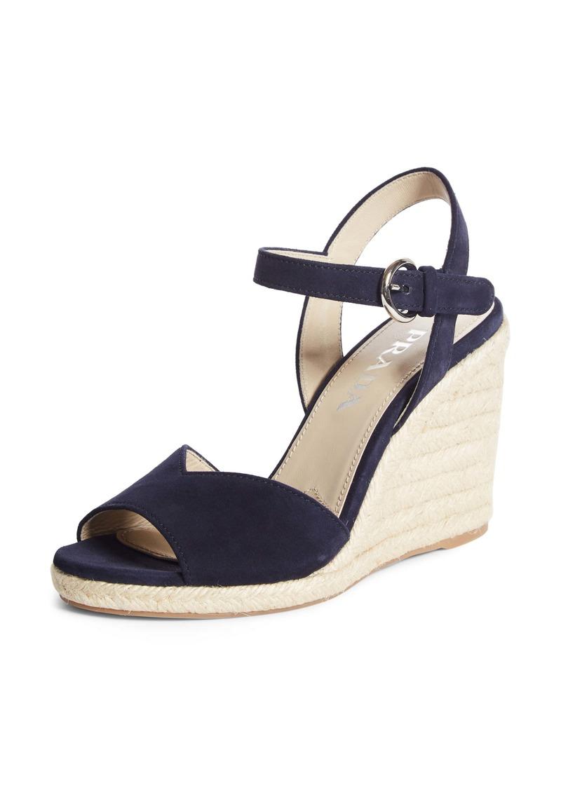 Prada Raffia Wedge Sandal (Women)