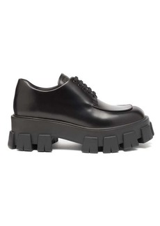 Prada Raised-sole brushed-leather derby shoes
