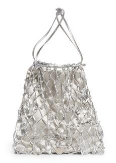 Prada Rete Crystal Embellished Macramé & Satin Drawstring Bag