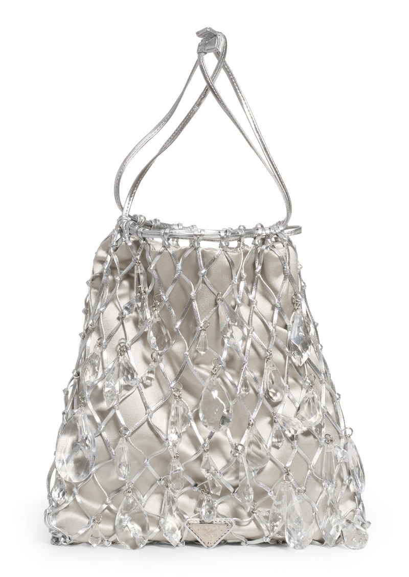 Prada Rete Crystal Embellished Macramé & Satin Drawstring Bag