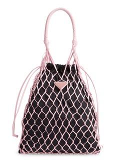 Prada Rete Top Handle Lambskin Drawstring Bag