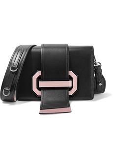 Prada Ribbon Plexi Two-tone Textured-leather Shoulder Bag