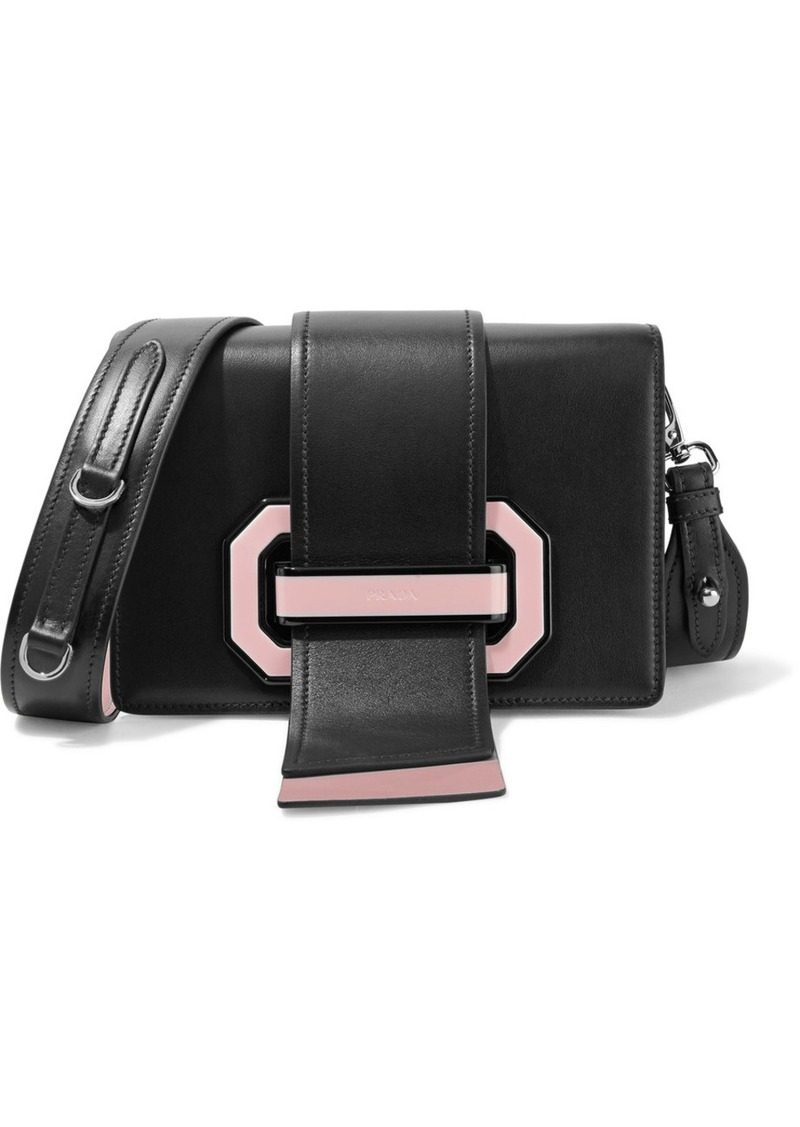 6b920fbae3b2 Prada Ribbon Plexi Two-tone Textured-leather Shoulder Bag