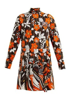 Prada Roll-neck floral-print mini dress