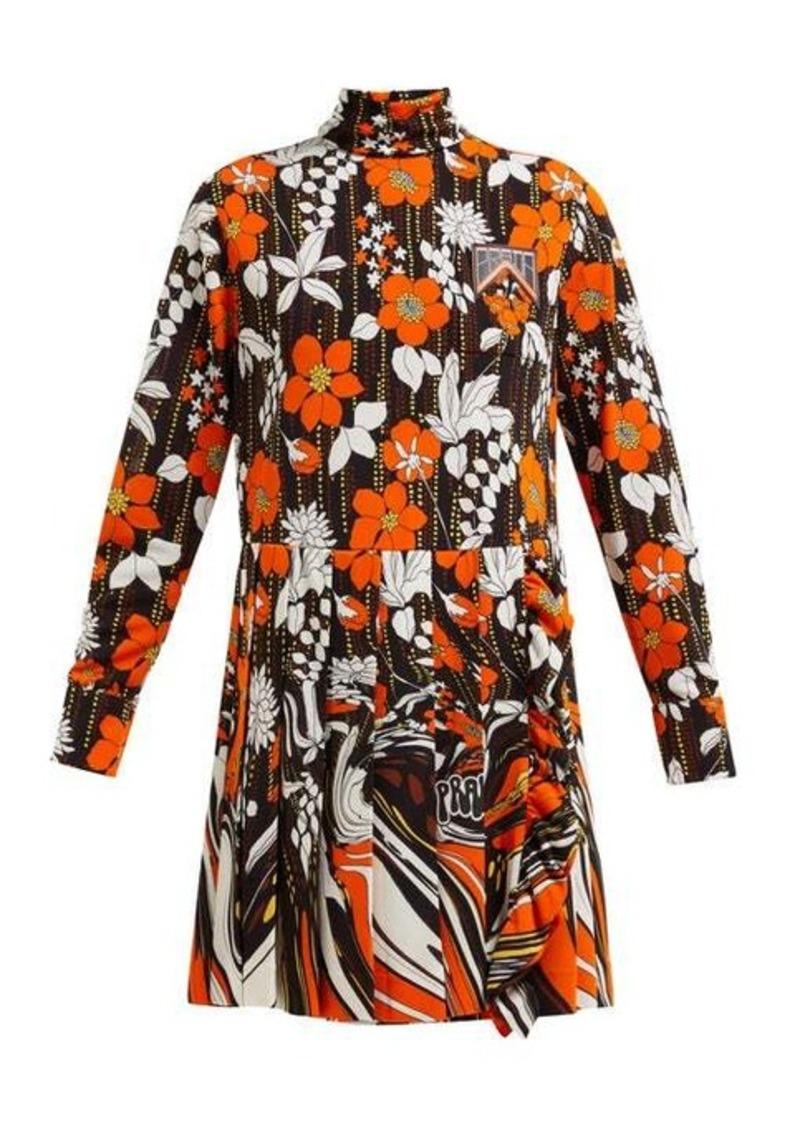 Prada Roll-neck floral-print mini dress