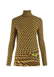 Prada Roll-neck geometric-print jersey top