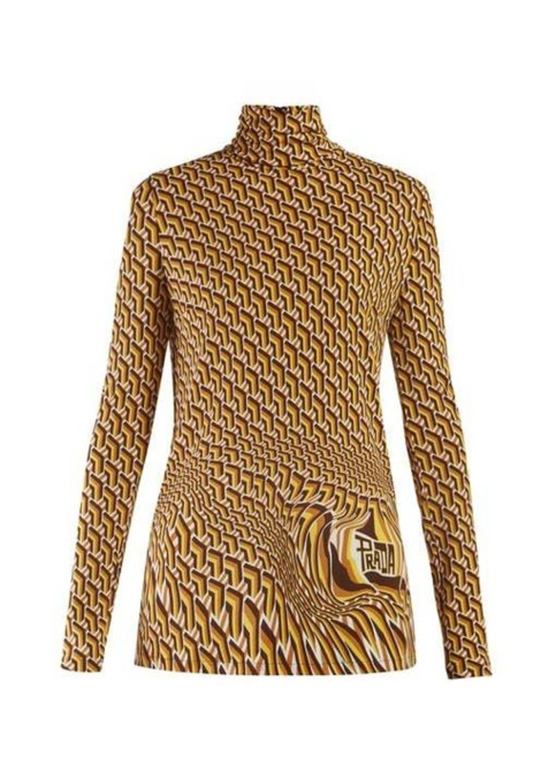Prada Roll-neck geometric-print jersey top