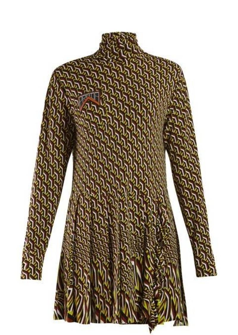 Prada Roll-neck geometric-print mini dress
