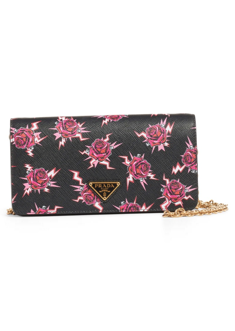 a8df71391e Rose & Lightning Bolt Leather Wallet on a Chain