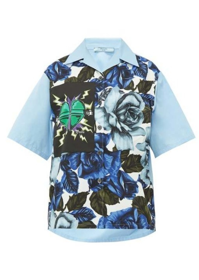 Prada Rose and heart-print cotton shirt