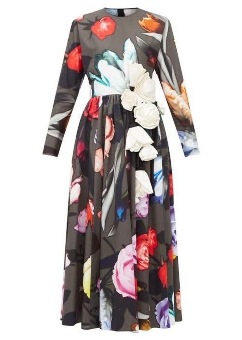 Prada Rose-print and silk appliqué cotton-poplin dress