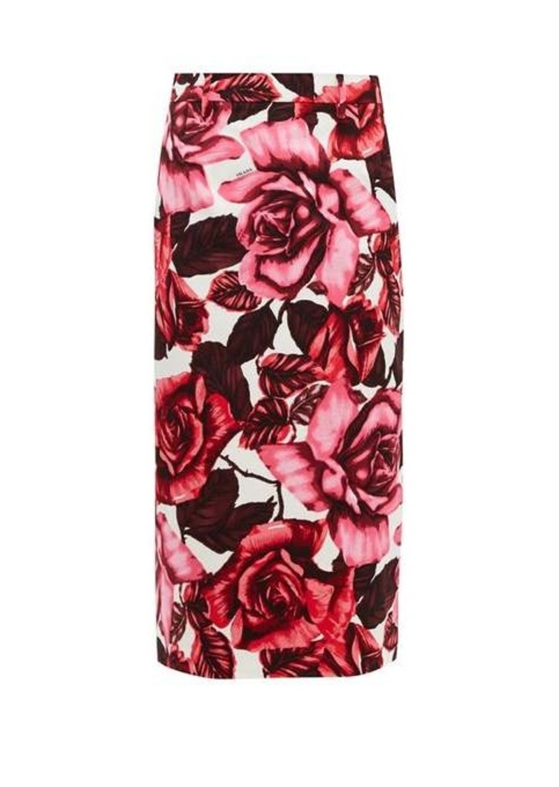 Prada Rose-print cotton-canvas midi skirt
