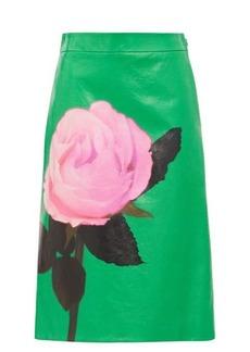 Prada Rose-print leather skirt