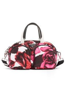 Prada Rose Print Nylon Top Handle Bag